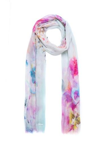 Silk and Cashmere İpek Karışımlı Jas Çiçek Baskılı Şal 70x180 cm Pembe